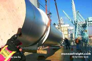 One of our breakbulk pieces being stowed on deck for shipment to the Caribbean.